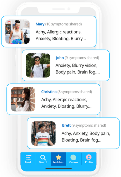 A screenshot of the Wana app which features profiles of four people who have matching symptoms.