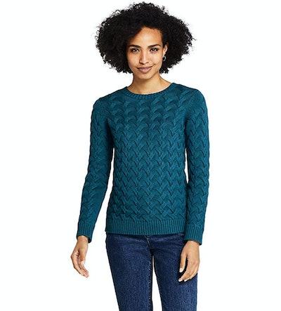 Lands' End Cotton Cable Drifter Crewneck Sweater