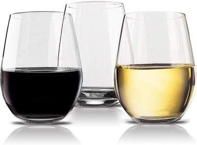 Vivocci Unbreakable Elegant Plastic Stemless Wine Glasses