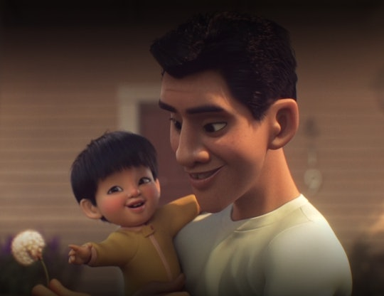 """A still from the movie """"Float"""" from Dinsey+, an animated short about raising children who are deemed..."""