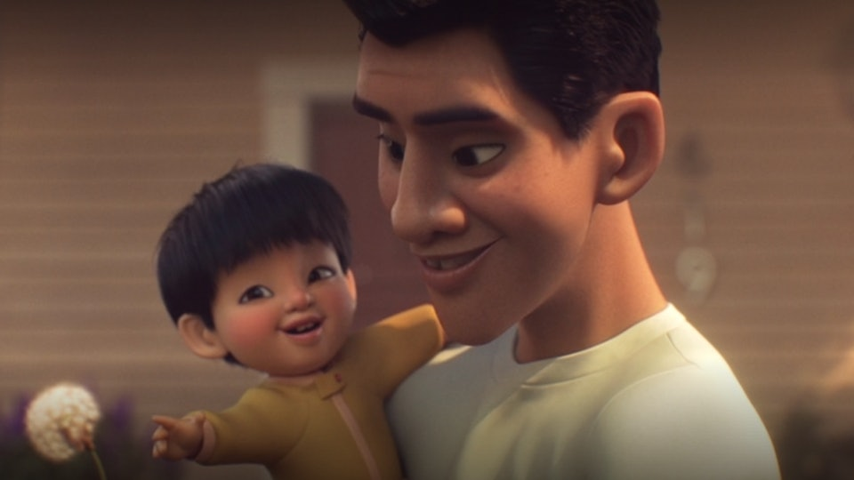 """A still from the movie """"Float"""" from Dinsey+, an animated short about raising children who are deemed different, featuring a father holding a baby boy"""