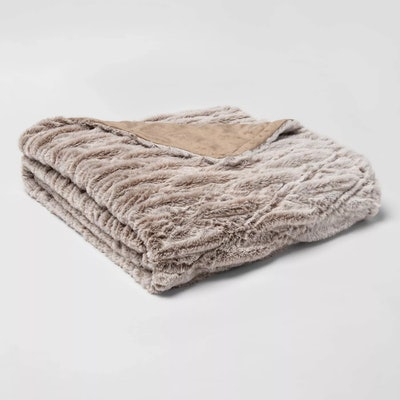 55x80 Solid Faux Fur Bed Throw by Threshold