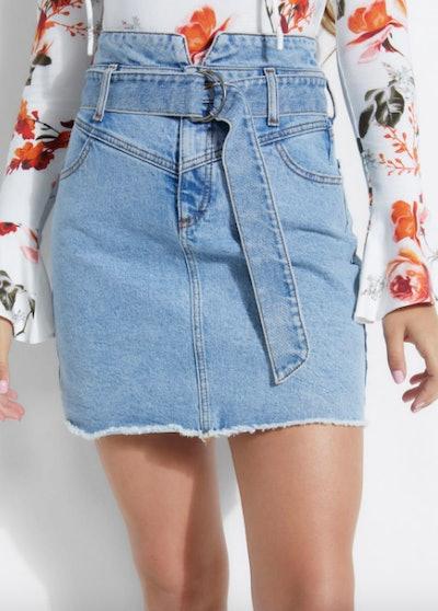 Belted '80s Denim Skirt