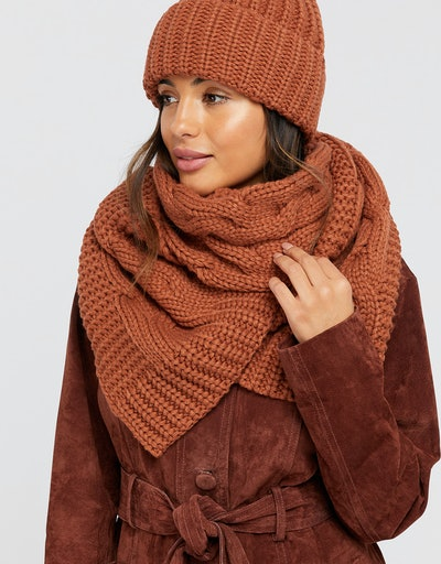 Bea Oversized Cable Knit Scarf