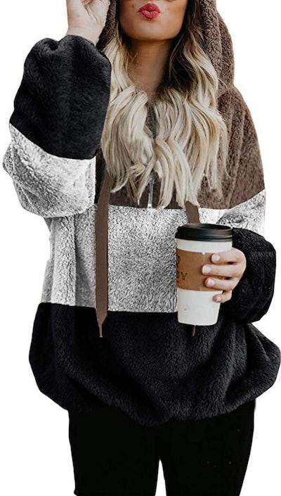 Acelitt Fuzzy Sweatshirt With Pockets