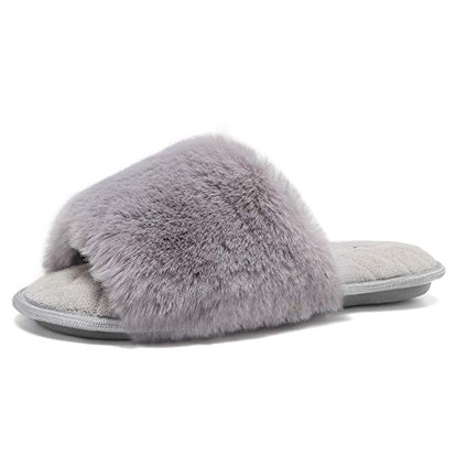 fanture Women's Furry Faux Fur Slippers