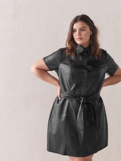 Faux-Leather Short Shirt Dress