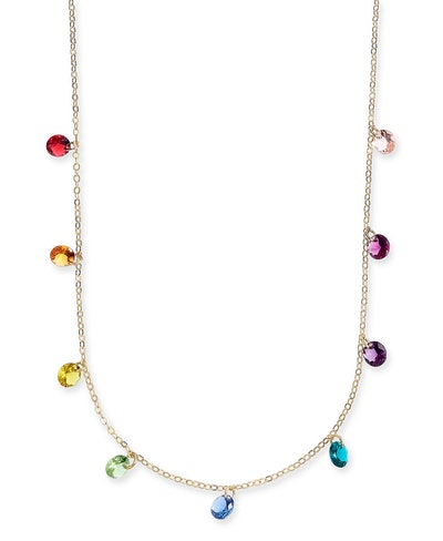 Gold-Tone Crystal Rainbow Shaky Statement Necklace