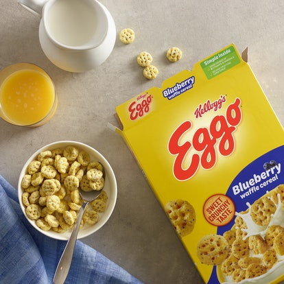 The new Eggo Waffle Cereal comes in two flavors: Maple Flavored Homestyle and Blueberry