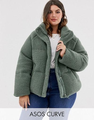 Curve fleece puffer jacket in sage