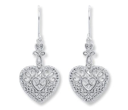 Heart Earrings Diamond Accents Sterling Silver