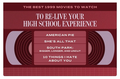 The best 1999 movies about high school include: 'American Pie,' 'She's All That,' 'South Park: Bigger, Longer, and Uncut,' '10 Things I Hate About You.'