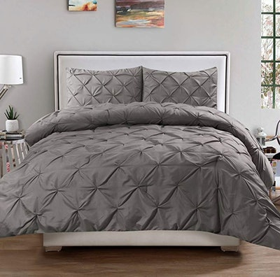 Sweet Home Collection 3 Piece Luxury Pinch Pleat Pintuck Fashion Duvet Set