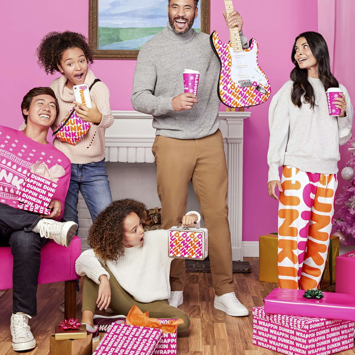 Dunkin's Holiday 2019 Merch Shop Includes Peppermint-Scented Wrapping Paper and Dunkin' Scrunchies.