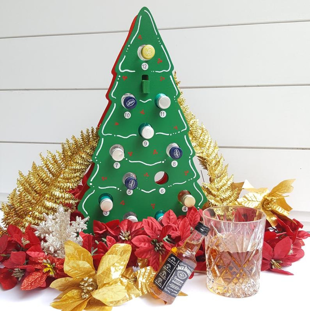 Mini Wine / Mini Liquor Bottle Christmas Tree Advent Calendar