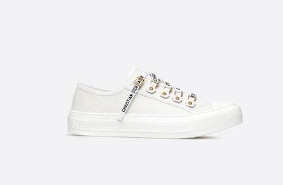 Walk'N'Dior Low Top Sneaker In White Canvas