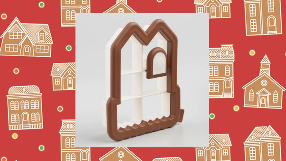 This gingerbread cookie cutter from Cost Plus World Market cuts all the pieces you need to build a gingerbread house.