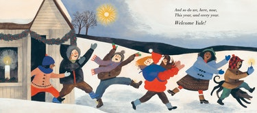 Figures run outside in The Shortest Day by Susan Cooper, illustrated by Carson Ellis