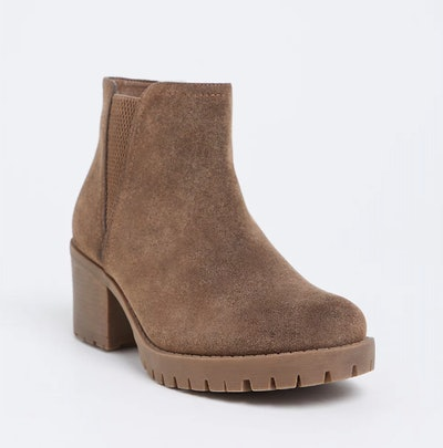 Brown Faux Suede Chelsea Bootie