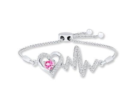 Heartbeat Bolo Bracelet Lab-Created Sapphire Sterling Silver