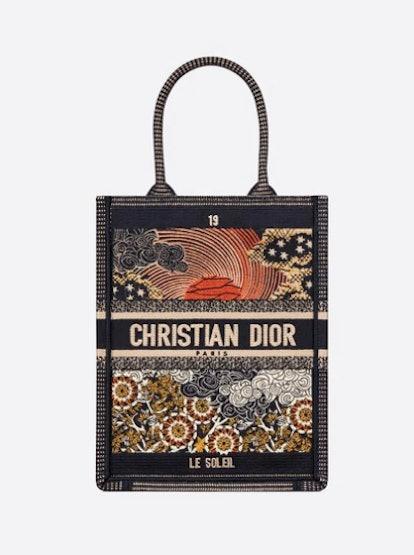 Sun Vertical Dior Book Tote Tarot Embroidered Canvas Bag