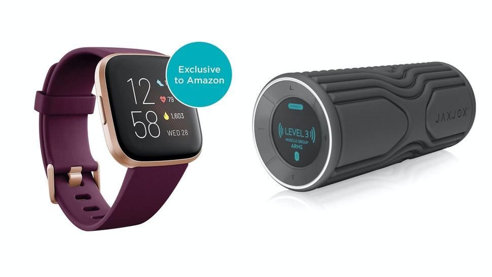 A screenshot of a FitBit Versa and a JaxJox Vibrating Foam Roller, two great fitness gifts for exercise lovers