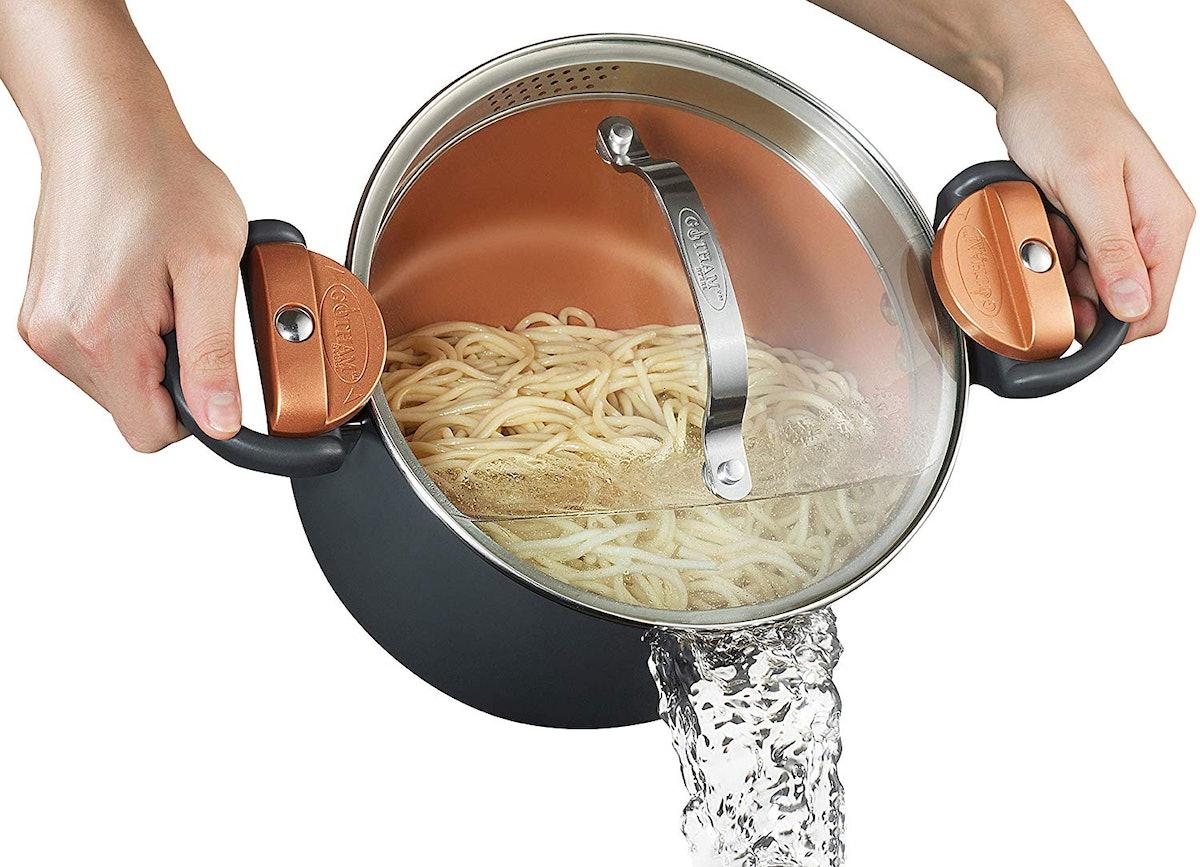 Gotham Steel Pasta Pot with Strainer Lid