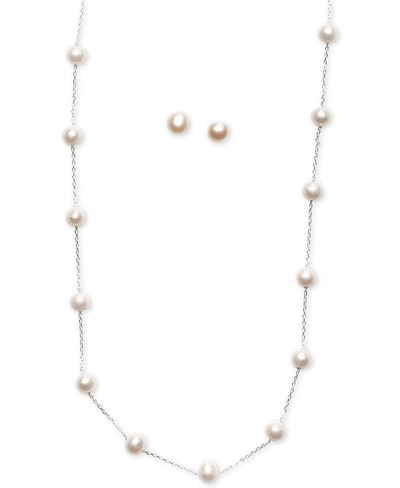 Cultured Freshwater Pearl Station Necklace and Stud Earrings Set