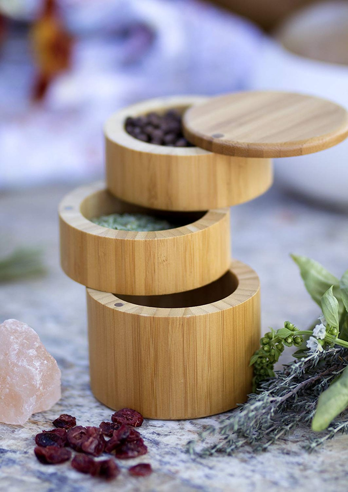 Totally Bamboo Storage Box with Magnetic Swivel Lids