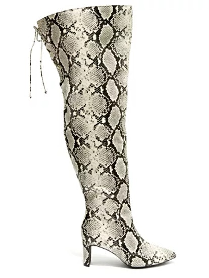 Can't Tell Me Nothin' Faux Snake Skin Thigh-High Boots