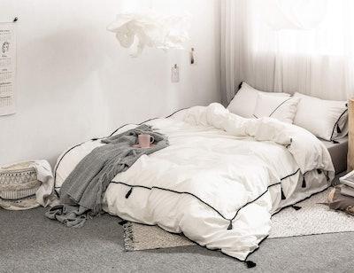 POMUED Cotton Pom Duvet Coverlet
