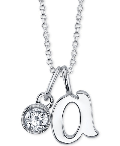 Initial & Cubic Zirconia Silver-Plated Charm Pendant Necklace