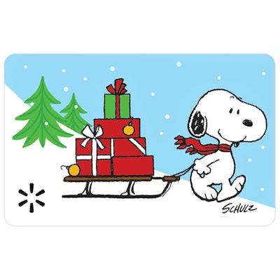 Snoopy Sleigh Walmart Gift Card