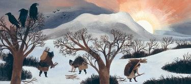 Figures collect firework in The Shortest Day by Susan Cooper, illustrated by Carson Ellis
