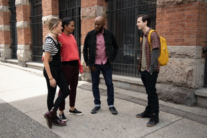 Sophie, PJ, Rome, and Regina standing on the sidewalk on A Million Little Things