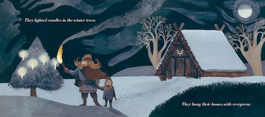 Figures light candles on trees in The Shortest Day by Susan Cooper, illustrated by Carson Ellis