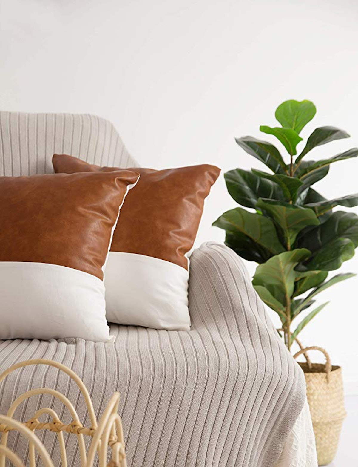 HOMFINER Faux Leather Throw Pillow Covers (2-Pack)