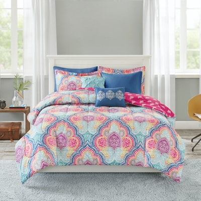 Mainstays 8 Piece Comforter Set with Coverlet, Full/Queen