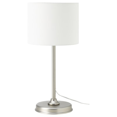 MILLERYR Table lamp with LED bulb, white, nickel plated