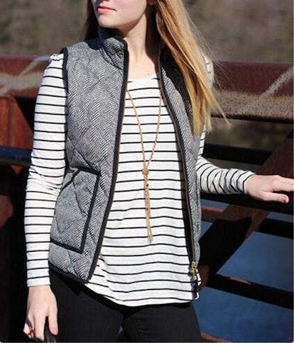 MEROKEETY Women's Quilted Herringbone Vest