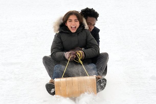 sledding scene in Netflix's 'Let It Snow'