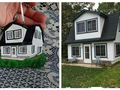 Etsy seller Forever Figurines creates handmade custom house ornaments, wedding cake replicas, and pet figurines