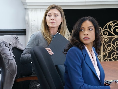 "Meredith had her medical board hearing on the Nov. 14 episode of 'Grey's Anatomy,' titled, ""My Shot.""  (Pictured: Ellen Pompeo, and Devika Parikh)"