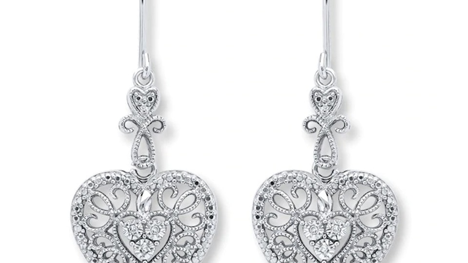 a pair of dangling heart earrings from kay jewelers