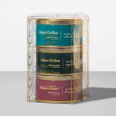 3oz 3pk Tin Jar Candle Gilded Chiffon/Velvet Vetiver/Tobacco Flower by Opalhouse