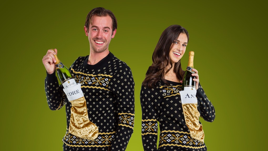 The André Champagne x Tipsy Elves 2019 Ugly Holiday Sweaters have stockings to put your bottle in.