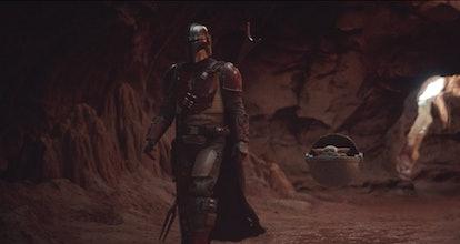 Pedro Pascal as Mando and Baby Yoda in The Mandalorian