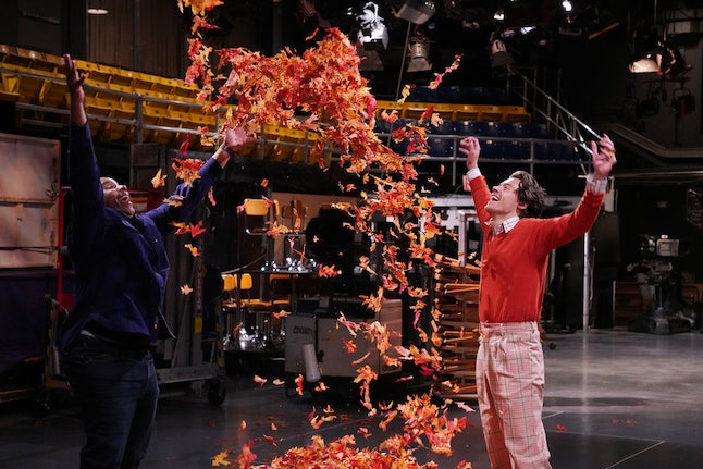 Harry Styles hosted and performed on Saturday Night Live's Nov. 16 episode. (Also pictured: Kenan Thompson)