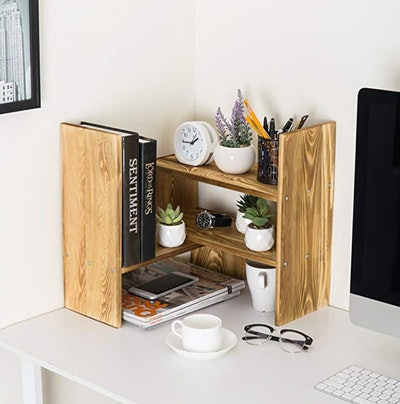 Dark Brown Wood Adjustable Desktop Storage Organizer