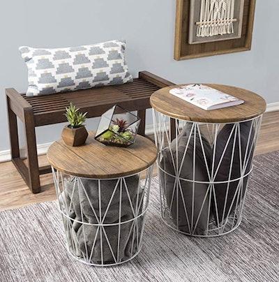 Lavish Home Convertible Round Metal Basket (Set of 2)